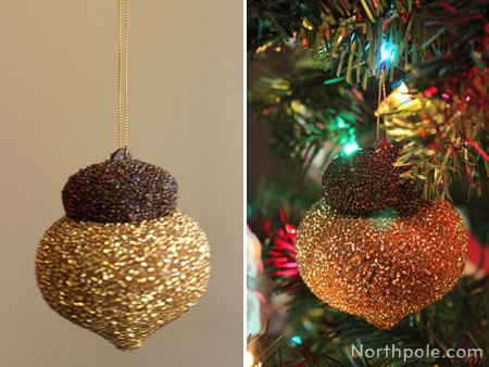 Completely cover a papier-mâché ornament with beads.